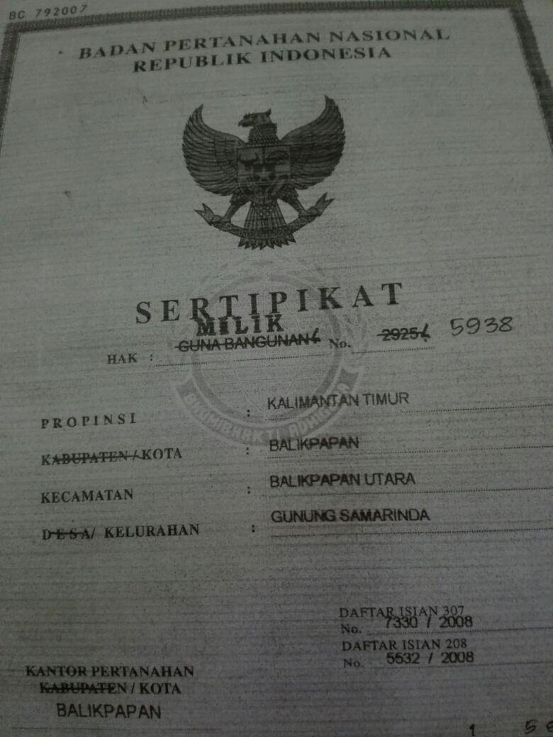 Rumah 2lt dijual 1,5M/nego di Wika Balikpapan - 081346498846